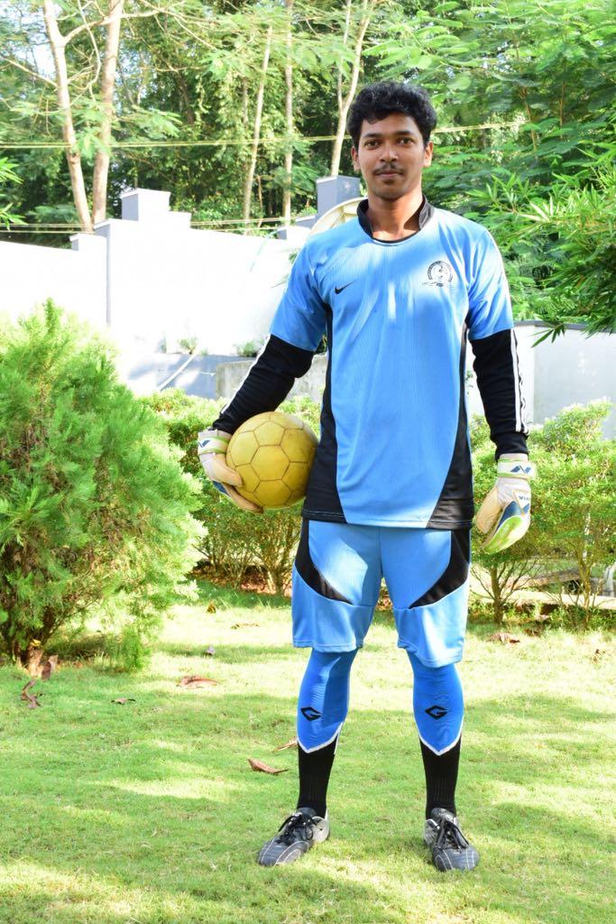 Jishnu Thuluvath representing APJ Abdul Kalam Technological university football team