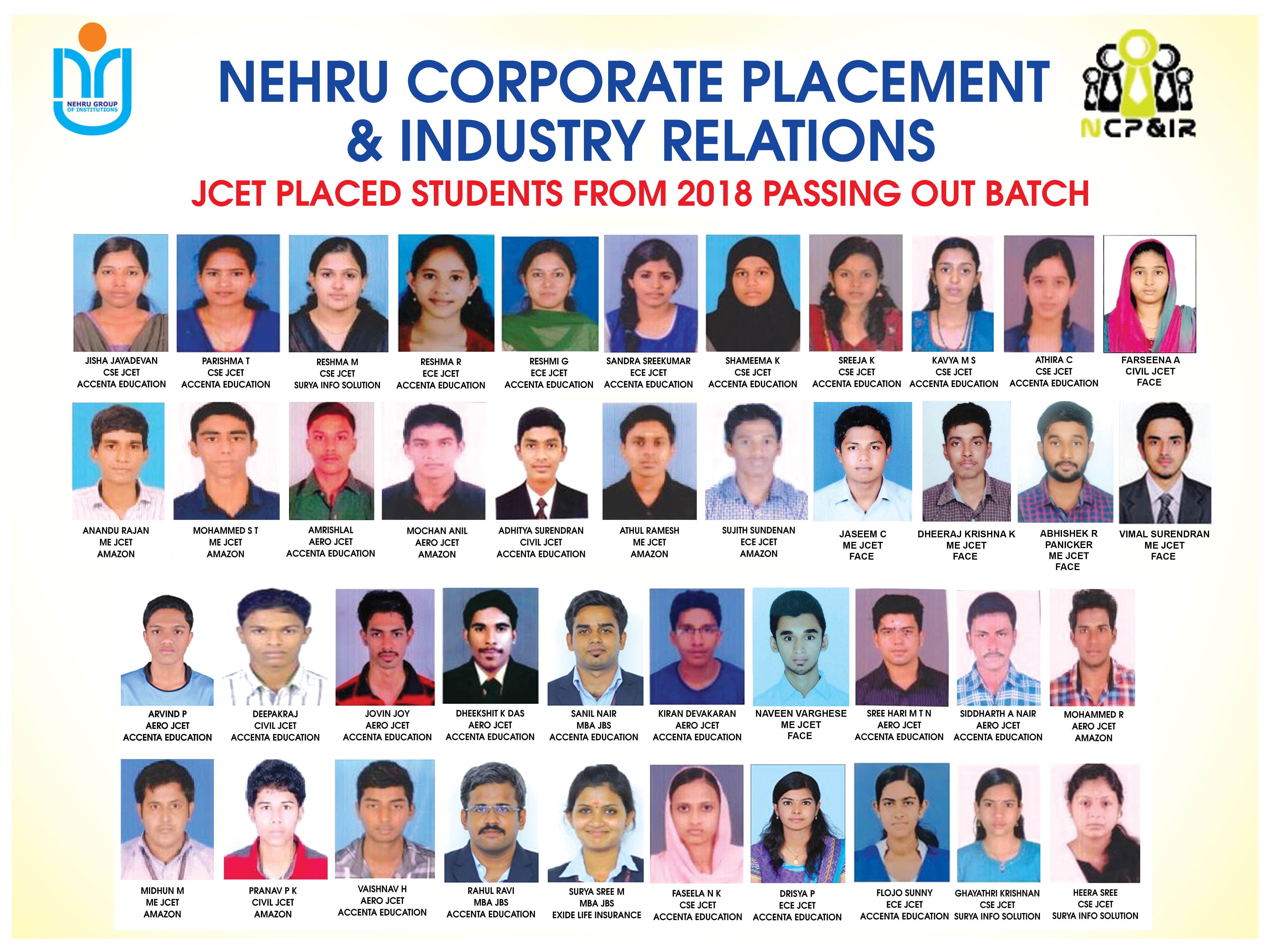 JCET PLACED STUDENTS FROM 2018 PASSING OUT BATCH